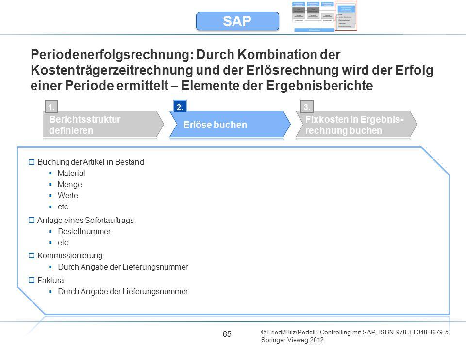 © Friedl/Hilz/Pedell: Controlling mit SAP, ISBN 978-3-8348-1679-5, Springer Vieweg 2012 65 Periodenerfolgsrechnung: Durch Kombination der Kostenträger