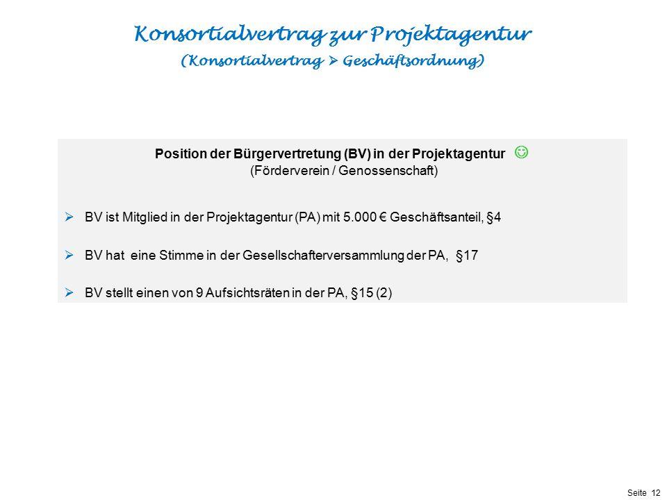 Präsentationstitel bzw. andere wichtige Informationen| Seite 12 Seite 12 Konsortialvertrag zur Projektagentur (Konsortialvertrag  Geschäftsordnung) P