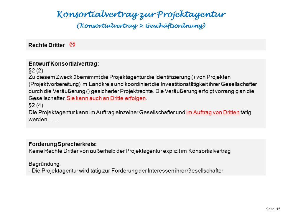 Präsentationstitel bzw. andere wichtige Informationen| Seite 15 Seite 15 Entwurf Konsortialvertrag: §2 (2) Zu diesem Zweck übernimmt die Projektagentu
