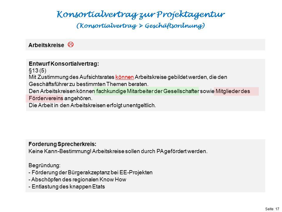 Präsentationstitel bzw. andere wichtige Informationen| Seite 17 Seite 17 Entwurf Konsortialvertrag: §13 (5) Mit Zustimmung des Aufsichtsrates können A
