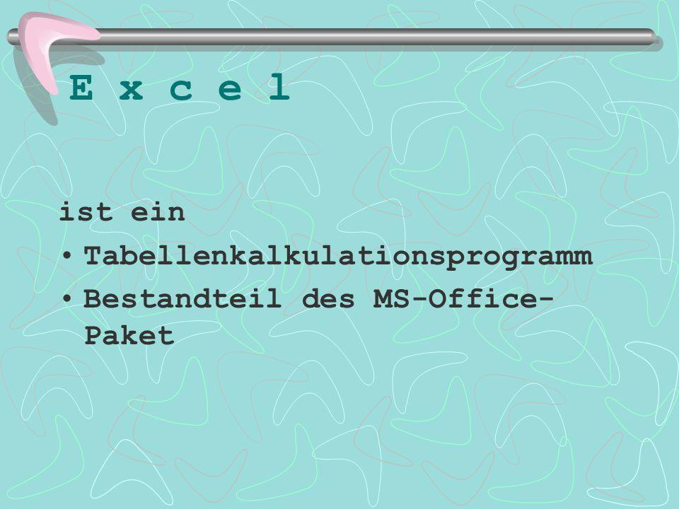 E x c e l ist ein Tabellenkalkulationsprogramm Bestandteil des MS-Office- Paket