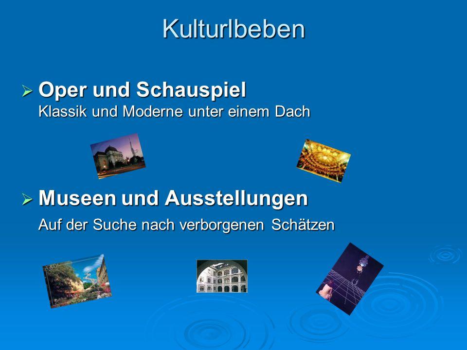 Kulturlbeben  Oper und Schauspiel Klassik und Moderne unter einem Dach  Museen und Ausstellungen Auf der Suche nach verborgenen Schätzen