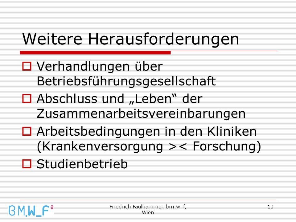 """Friedrich Faulhammer, bm.w_f, Wien 10 Weitere Herausforderungen  Verhandlungen über Betriebsführungsgesellschaft  Abschluss und """"Leben der Zusammenarbeitsvereinbarungen  Arbeitsbedingungen in den Kliniken (Krankenversorgung >< Forschung)  Studienbetrieb"""
