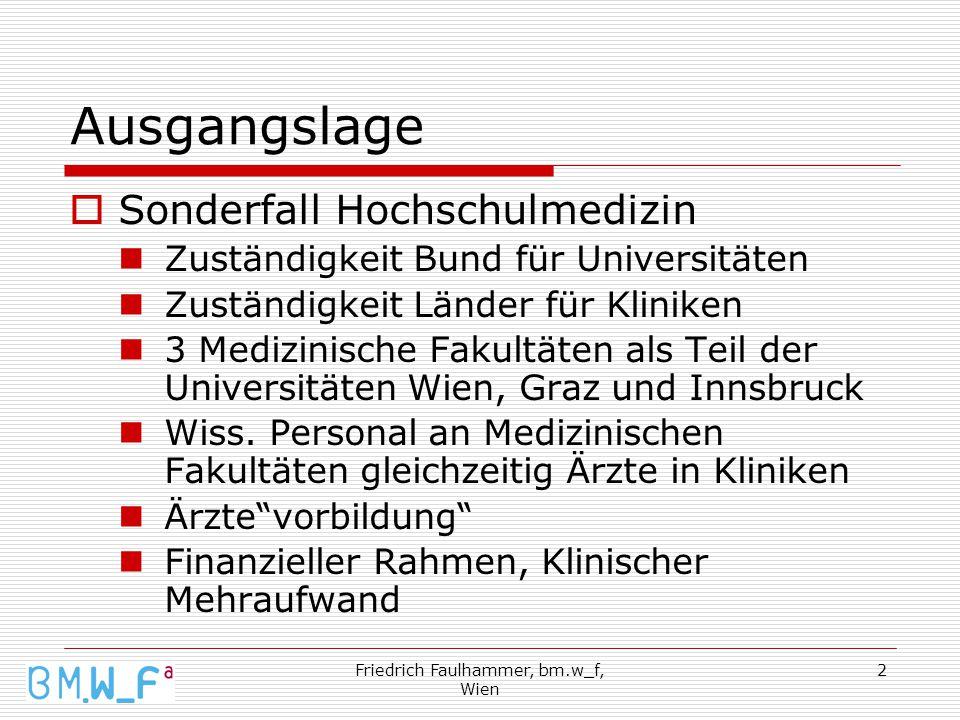 Friedrich Faulhammer, bm.w_f, Wien 2 Ausgangslage  Sonderfall Hochschulmedizin Zuständigkeit Bund für Universitäten Zuständigkeit Länder für Kliniken 3 Medizinische Fakultäten als Teil der Universitäten Wien, Graz und Innsbruck Wiss.