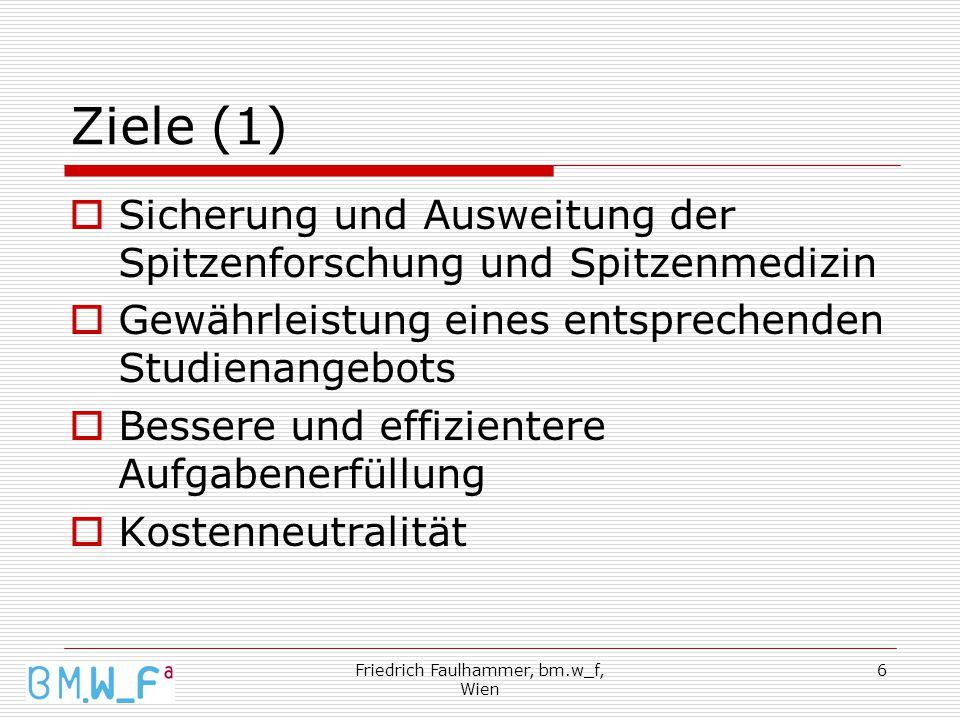 Friedrich Faulhammer, bm.w_f, Wien 6 Ziele (1)  Sicherung und Ausweitung der Spitzenforschung und Spitzenmedizin  Gewährleistung eines entsprechenden Studienangebots  Bessere und effizientere Aufgabenerfüllung  Kostenneutralität