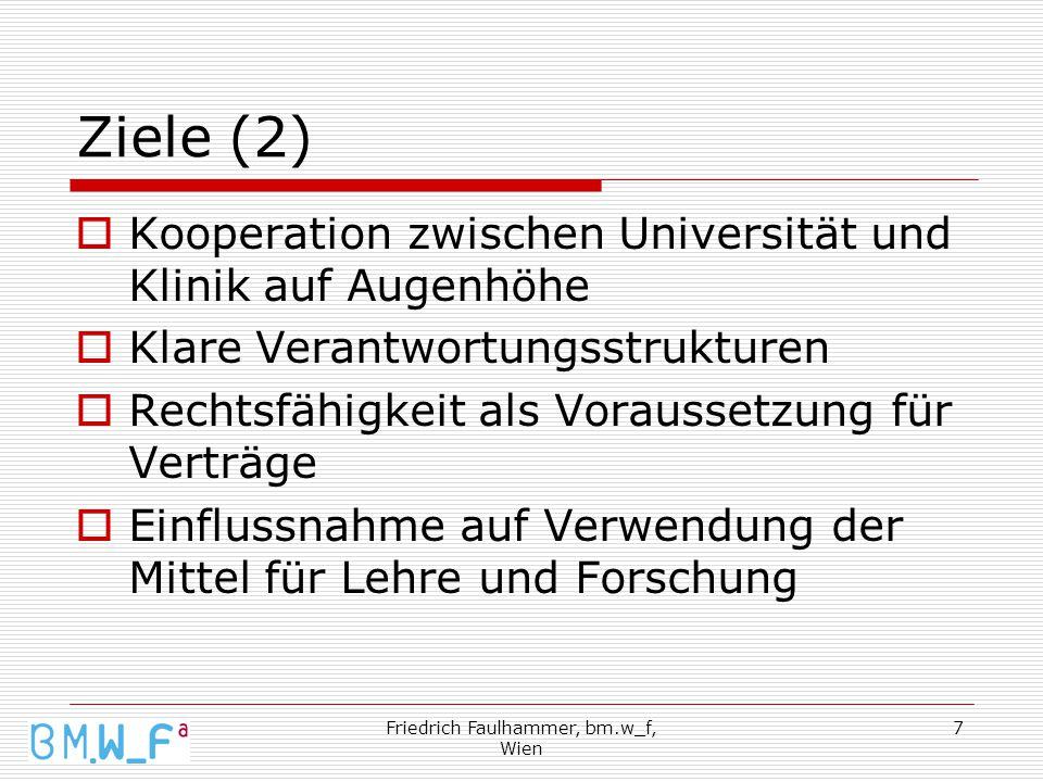 Friedrich Faulhammer, bm.w_f, Wien 7 Ziele (2)  Kooperation zwischen Universität und Klinik auf Augenhöhe  Klare Verantwortungsstrukturen  Rechtsfähigkeit als Voraussetzung für Verträge  Einflussnahme auf Verwendung der Mittel für Lehre und Forschung