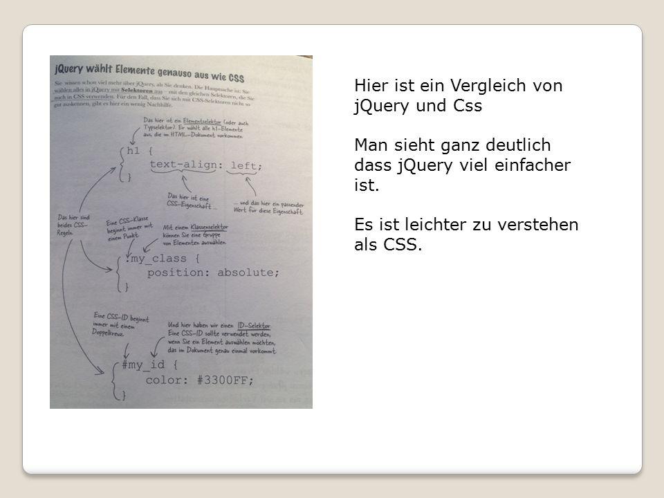 Hier ist ein Vergleich von jQuery und Css Man sieht ganz deutlich dass jQuery viel einfacher ist.