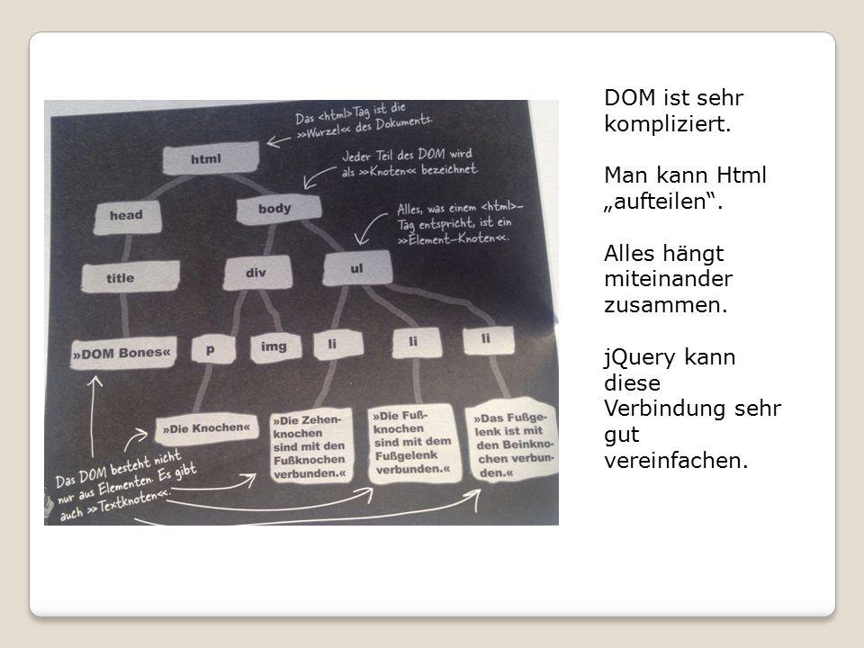 """DOM ist sehr kompliziert.Man kann Html """"aufteilen ."""