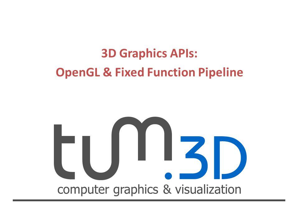 computer graphics & visualization 3D Graphics APIs: OpenGL & Fixed Function Pipeline Jan-Hendrik Behrmann Ausblick Fixed Function Pipeline inzwischen überholt.
