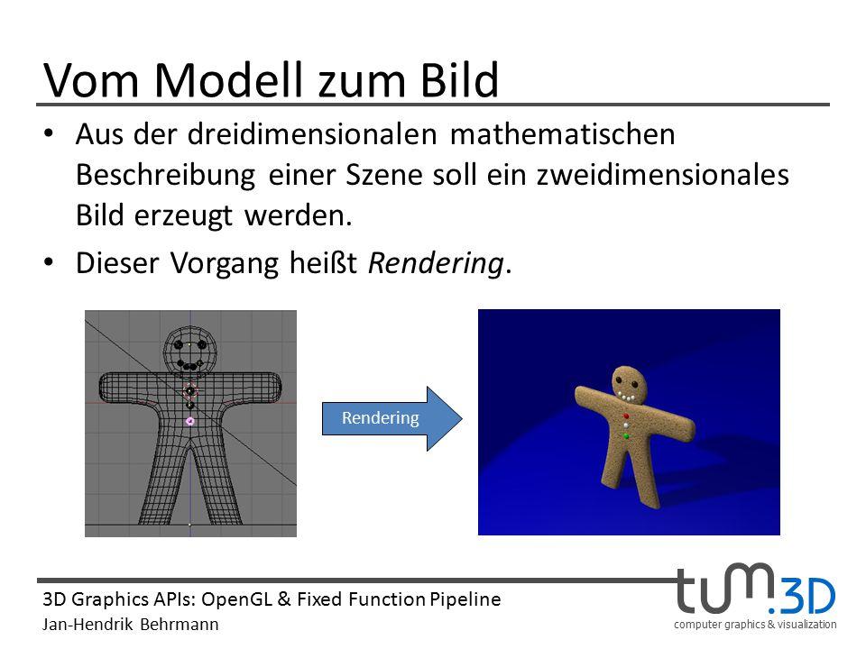 computer graphics & visualization 3D Graphics APIs: OpenGL & Fixed Function Pipeline Jan-Hendrik Behrmann Vom Modell zum Bild Aus der dreidimensionale