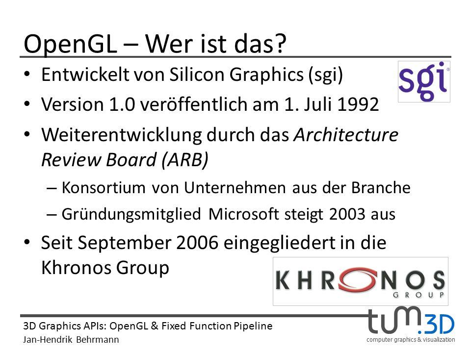 computer graphics & visualization 3D Graphics APIs: OpenGL & Fixed Function Pipeline Jan-Hendrik Behrmann Rasterization Allgemein: Umwandeln einer vektoriell beschriebenen Bildinformation zu einem Rasterbild.