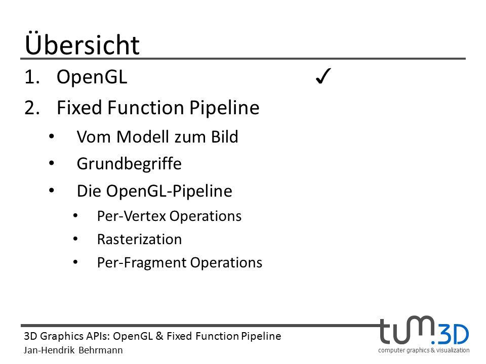 computer graphics & visualization 3D Graphics APIs: OpenGL & Fixed Function Pipeline Jan-Hendrik Behrmann Per-Fragment Operations 1.Wenn für ein Fragment Texturkoordinaten vorliegen, wird dem Fragment der passende Farbwert aus der Textur zugewiesen.