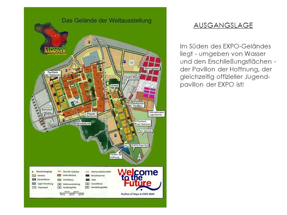 Im Süden des EXPO-Geländes liegt - umgeben von Wasser und den Erschließungsflächen - der Pavillon der Hoffnung, der gleichzeitig offizieller Jugend- pavillon der EXPO ist.