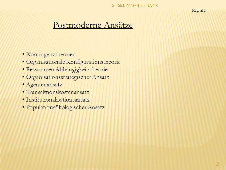 Dr. Dilek ZAMANTILI NAYIR 21 Postmoderne Ansätze Kontingenztheorien Organisationale Konfigurationstheorie Ressourcen Abhängigkeitstheorie Organisation