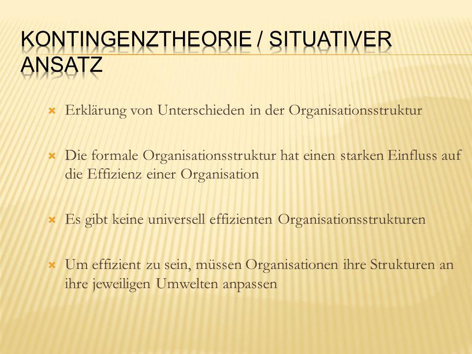  Erklärung von Unterschieden in der Organisationsstruktur  Die formale Organisationsstruktur hat einen starken Einfluss auf die Effizienz einer Organisation  Es gibt keine universell effizienten Organisationsstrukturen  Um effizient zu sein, müssen Organisationen ihre Strukturen an ihre jeweiligen Umwelten anpassen