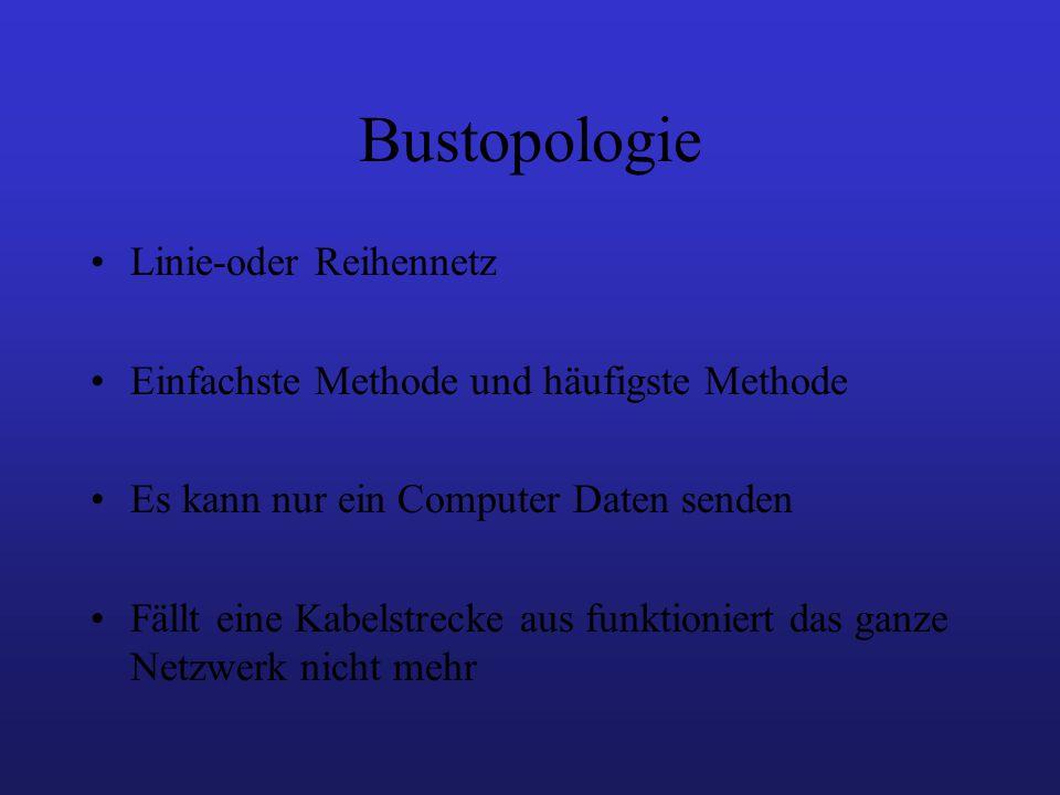 Bustopologie Linie-oder Reihennetz Einfachste Methode und häufigste Methode Es kann nur ein Computer Daten senden Fällt eine Kabelstrecke aus funktioniert das ganze Netzwerk nicht mehr