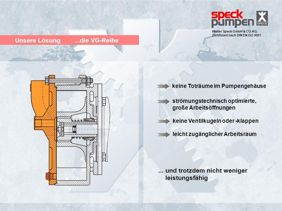 Walter Speck GmbH & CO.KG. Zertifiziert nach DIN EN ISO 9001 Unsere Lösung...die VG-Reihe strömungstechnisch optimierte, große Arbeitsöffnungen keine