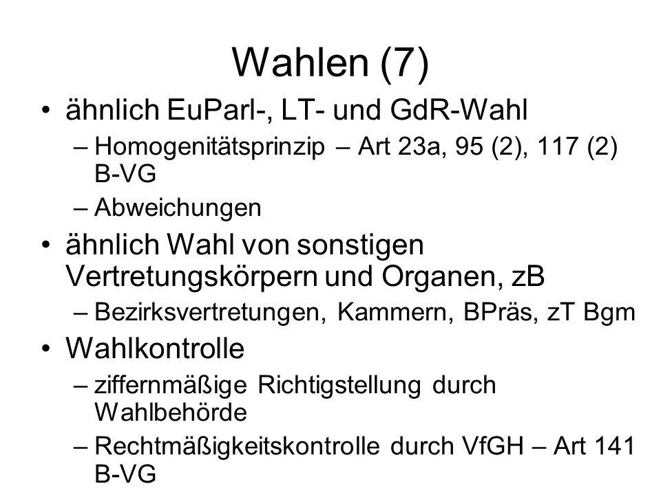 Wahlen (7) ähnlich EuParl-, LT- und GdR-Wahl –Homogenitätsprinzip – Art 23a, 95 (2), 117 (2) B-VG –Abweichungen ähnlich Wahl von sonstigen Vertretungskörpern und Organen, zB –Bezirksvertretungen, Kammern, BPräs, zT Bgm Wahlkontrolle –ziffernmäßige Richtigstellung durch Wahlbehörde –Rechtmäßigkeitskontrolle durch VfGH – Art 141 B-VG