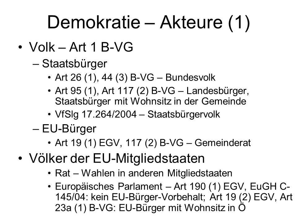 Demokratie – Akteure (1) Volk – Art 1 B-VG –Staatsbürger Art 26 (1), 44 (3) B-VG – Bundesvolk Art 95 (1), Art 117 (2) B-VG – Landesbürger, Staatsbürger mit Wohnsitz in der Gemeinde VfSlg 17.264/2004 – Staatsbürgervolk –EU-Bürger Art 19 (1) EGV, 117 (2) B-VG – Gemeinderat Völker der EU-Mitgliedstaaten Rat – Wahlen in anderen Mitgliedstaaten Europäisches Parlament – Art 190 (1) EGV, EuGH C- 145/04: kein EU-Bürger-Vorbehalt; Art 19 (2) EGV, Art 23a (1) B-VG: EU-Bürger mit Wohnsitz in Ö