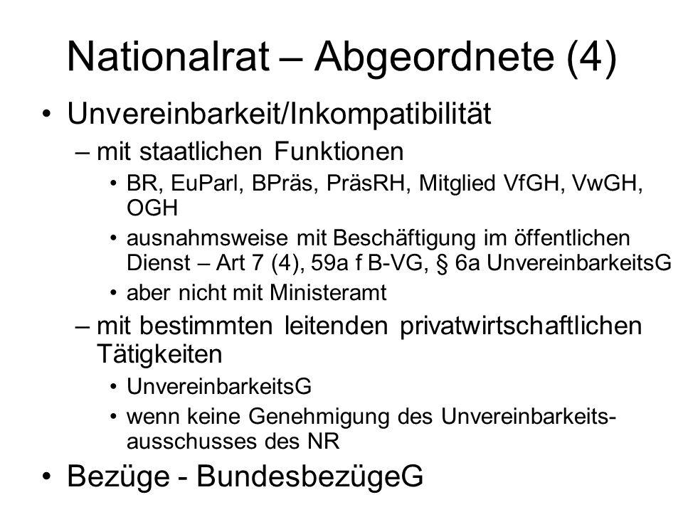 Nationalrat – Abgeordnete (4) Unvereinbarkeit/Inkompatibilität –mit staatlichen Funktionen BR, EuParl, BPräs, PräsRH, Mitglied VfGH, VwGH, OGH ausnahmsweise mit Beschäftigung im öffentlichen Dienst – Art 7 (4), 59a f B-VG, § 6a UnvereinbarkeitsG aber nicht mit Ministeramt –mit bestimmten leitenden privatwirtschaftlichen Tätigkeiten UnvereinbarkeitsG wenn keine Genehmigung des Unvereinbarkeits- ausschusses des NR Bezüge - BundesbezügeG