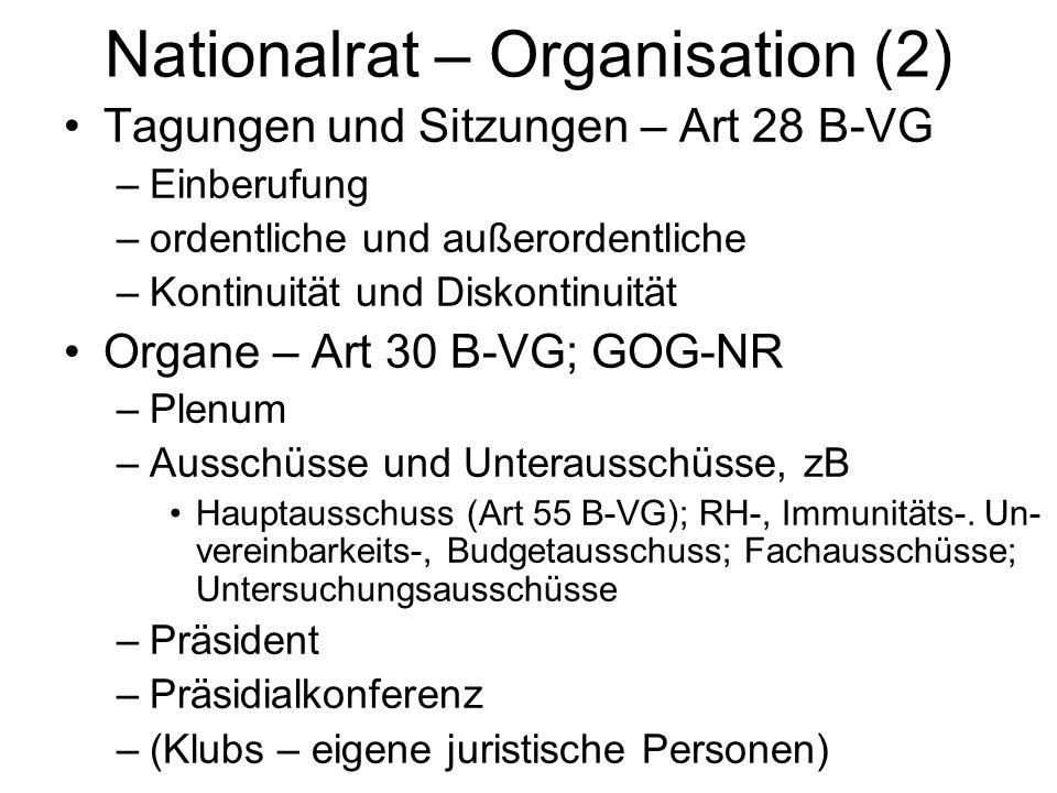 Nationalrat – Organisation (2) Tagungen und Sitzungen – Art 28 B-VG –Einberufung –ordentliche und außerordentliche –Kontinuität und Diskontinuität Organe – Art 30 B-VG; GOG-NR –Plenum –Ausschüsse und Unterausschüsse, zB Hauptausschuss (Art 55 B-VG); RH-, Immunitäts-.