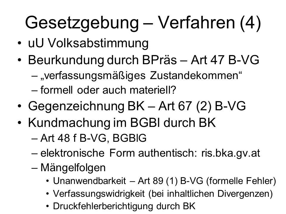 """Gesetzgebung – Verfahren (4) uU Volksabstimmung Beurkundung durch BPräs – Art 47 B-VG –""""verfassungsmäßiges Zustandekommen"""" –formell oder auch materiel"""