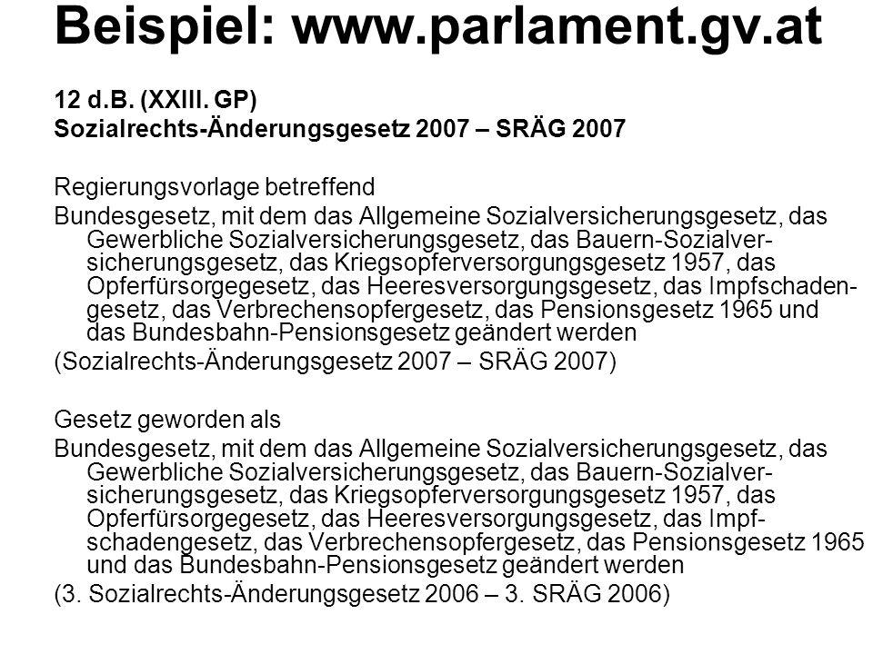 Beispiel: www.parlament.gv.at 12 d.B.(XXIII.