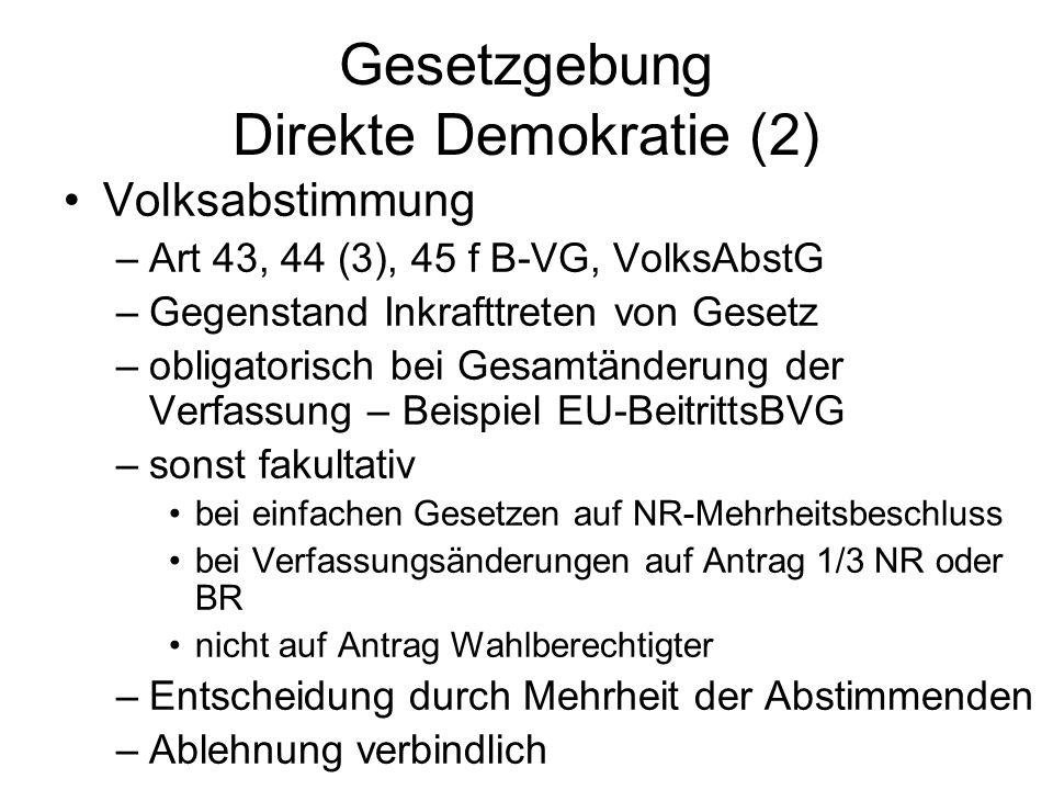 Gesetzgebung Direkte Demokratie (2) Volksabstimmung –Art 43, 44 (3), 45 f B-VG, VolksAbstG –Gegenstand Inkrafttreten von Gesetz –obligatorisch bei Gesamtänderung der Verfassung – Beispiel EU-BeitrittsBVG –sonst fakultativ bei einfachen Gesetzen auf NR-Mehrheitsbeschluss bei Verfassungsänderungen auf Antrag 1/3 NR oder BR nicht auf Antrag Wahlberechtigter –Entscheidung durch Mehrheit der Abstimmenden –Ablehnung verbindlich