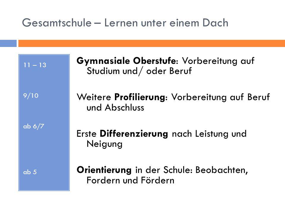 Gesamtschule – Lernen unter einem Dach 11 – 13 9/10 ab 6/7 ab 5 Gymnasiale Oberstufe: Vorbereitung auf Studium und/ oder Beruf Weitere Profilierung: V