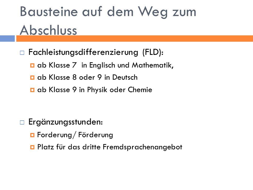 Bausteine auf dem Weg zum Abschluss  Fachleistungsdifferenzierung (FLD):  ab Klasse 7 in Englisch und Mathematik,  ab Klasse 8 oder 9 in Deutsch 