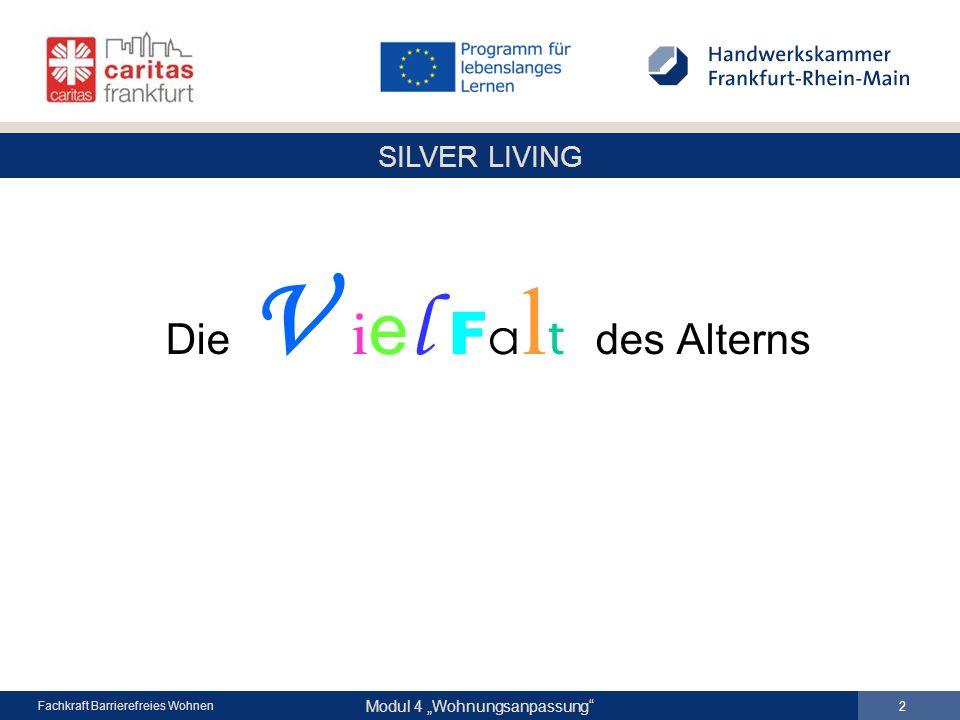 """SILVER LIVING Modul 4 """"Wohnungsanpassung Fachkraft Barrierefreies Wohnen Die V i e l F a l t des Alterns 2"""