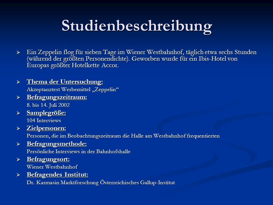Studienbeschreibung  Ein Zeppelin flog für sieben Tage im Wiener Westbahnhof, täglich etwa sechs Stunden (während der größten Personendichte). Geworb