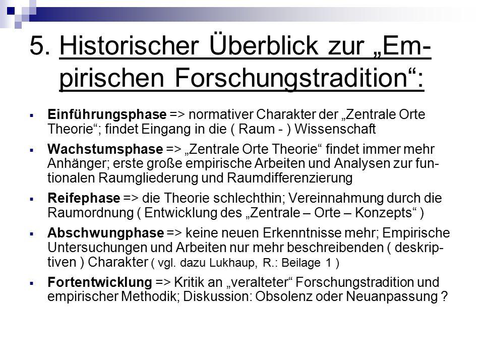 """5. Historischer Überblick zur """"Em- pirischen Forschungstradition"""":  Einführungsphase => normativer Charakter der """"Zentrale Orte Theorie""""; findet Eing"""