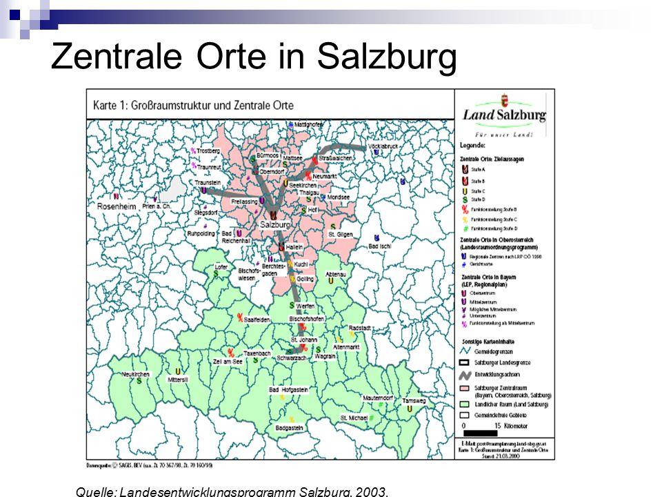Zentrale Orte in Salzburg Quelle: Landesentwicklungsprogramm Salzburg, 2003.