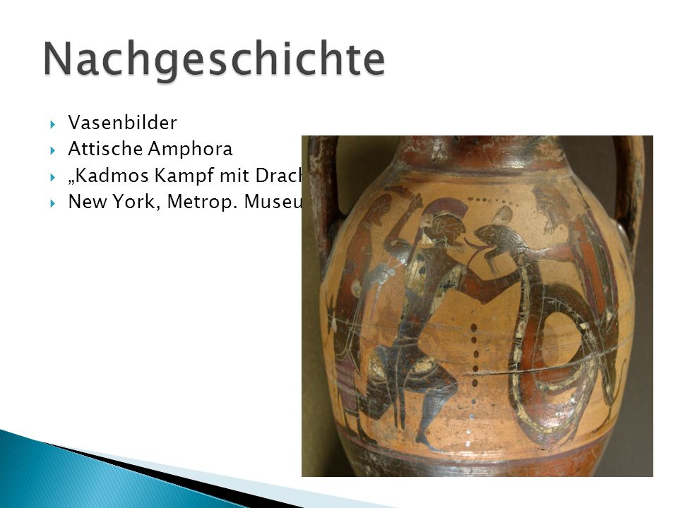" Vasenbilder  Attische Amphora  ""Kadmos Kampf mit Drachen  New York, Metrop. Museum"