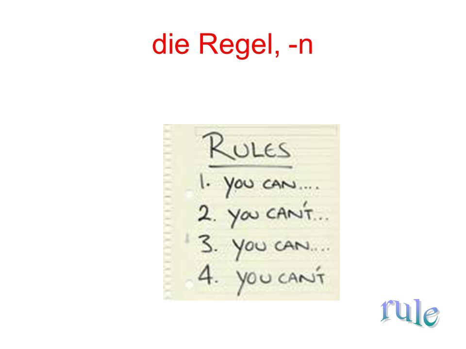 die Regel, -n