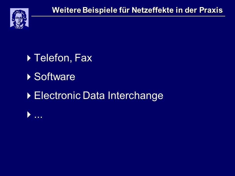 Weitere Beispiele für Netzeffekte in der Praxis  Telefon, Fax  Software  Electronic Data Interchange ...