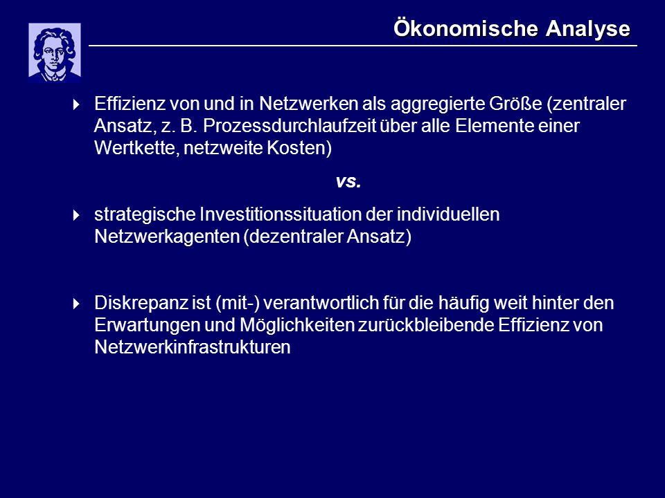 Ökonomische Analyse  Effizienz von und in Netzwerken als aggregierte Größe (zentraler Ansatz, z. B. Prozessdurchlaufzeit über alle Elemente einer Wer