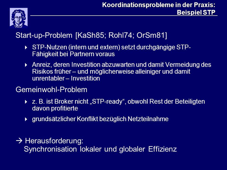 Koordinationsprobleme in der Praxis: Beispiel STP Start-up-Problem [KaSh85; Rohl74; OrSm81]  STP-Nutzen (intern und extern) setzt durchgängige STP- F