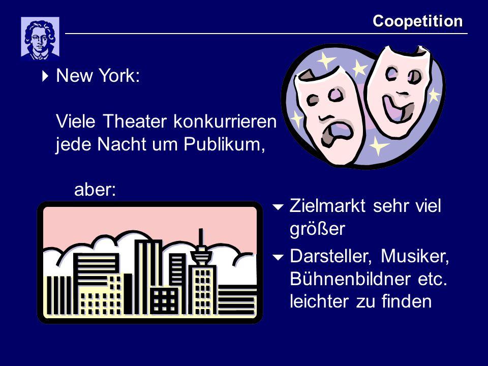 Coopetition  New York: Viele Theater konkurrieren jede Nacht um Publikum, aber:  Zielmarkt sehr viel größer  Darsteller, Musiker, Bühnenbildner etc