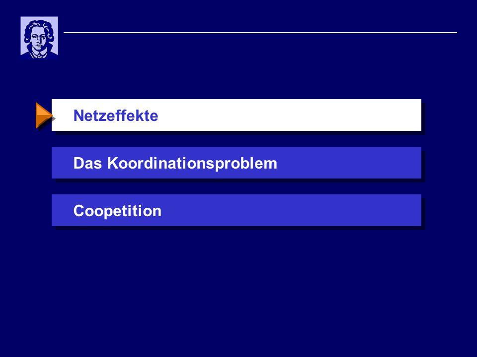 Standardisierungsprobleme Potenziale aus Vernetzung, aber es gibt Probleme:  unvollständige Information über das Entscheidungsverhalten der Netzwerkpartner  asymmetrischer Anfall von Kosten und Nutzen  unsichere Kosten und v.