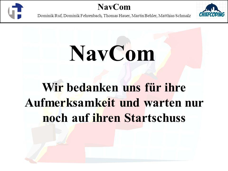 NavCom Dominik Ruf, Dominik Fehrenbach, Thomas Hauer, Martin Behler, Matthias Schmalz Wir bedanken uns für ihre Aufmerksamkeit und warten nur noch auf