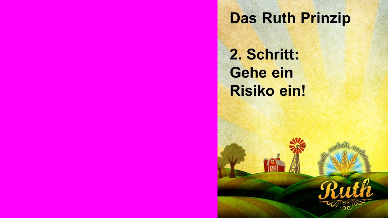 Seiteneinblender Das Ruth Prinzip 2. Schritt: Gehe ein Risiko ein!