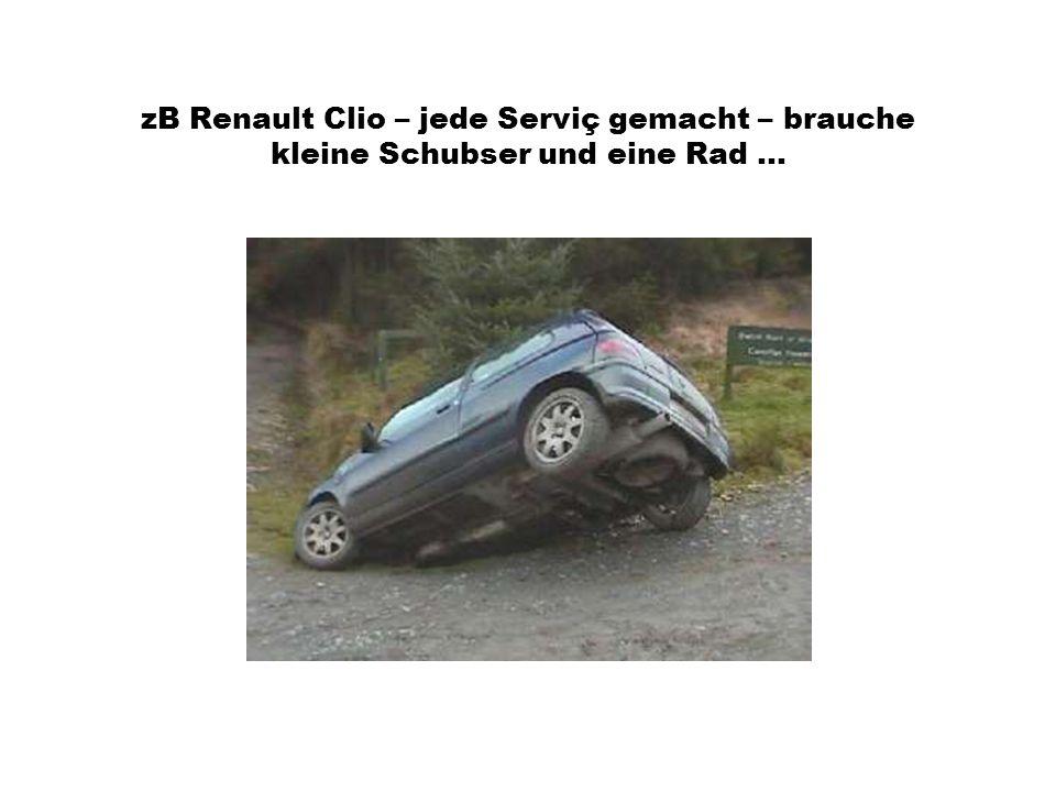 zB Renault Clio – jede Serviç gemacht – brauche kleine Schubser und eine Rad...
