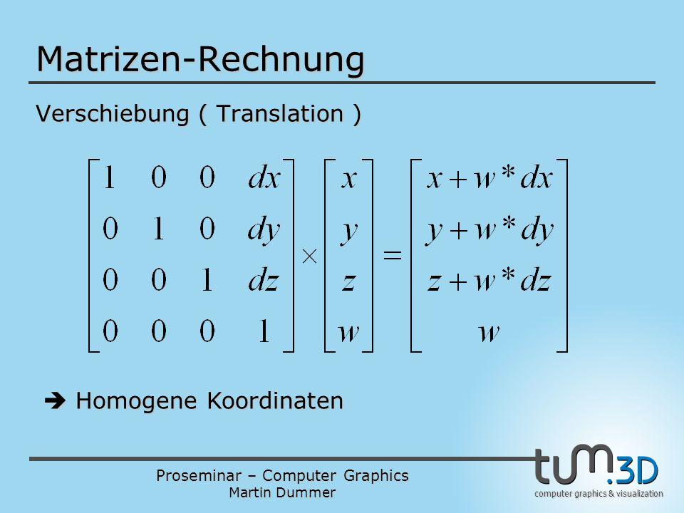 Proseminar – Computer Graphics Martin Dummer computer graphics & visualization Matrizen-Rechnung Verschiebung ( Translation )  Homogene Koordinaten