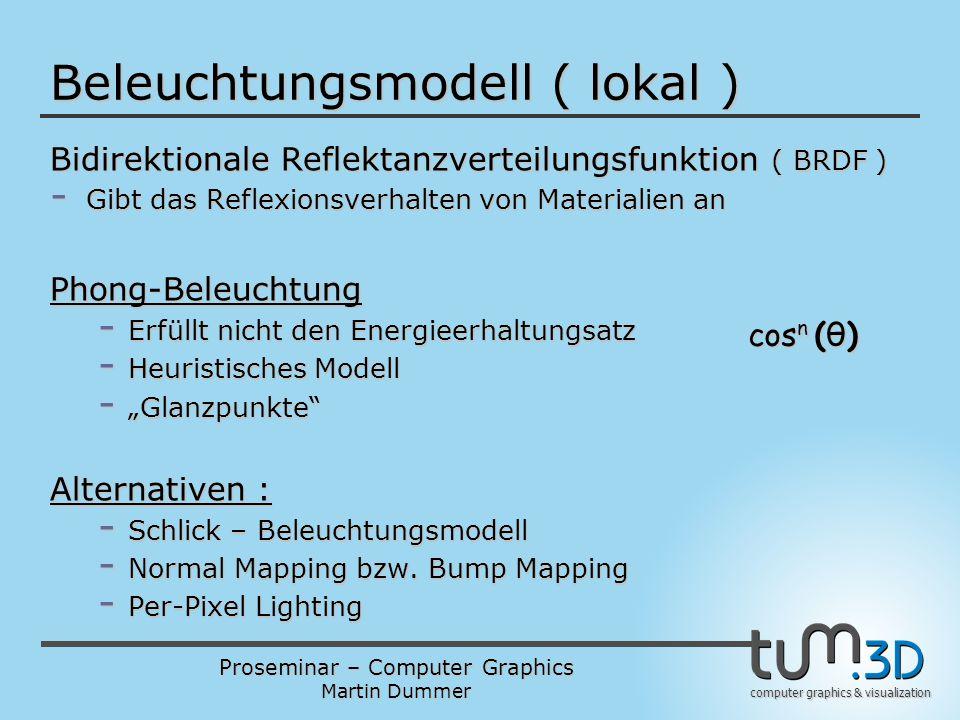 Proseminar – Computer Graphics Martin Dummer computer graphics & visualization Beleuchtungsmodell ( lokal ) Bidirektionale Reflektanzverteilungsfunkti
