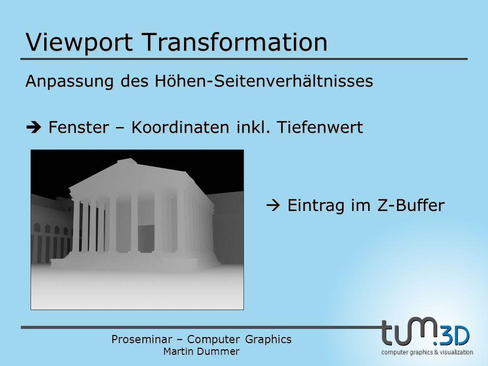Proseminar – Computer Graphics Martin Dummer computer graphics & visualization Viewport Transformation Anpassung des Höhen-Seitenverhältnisses  Fenst