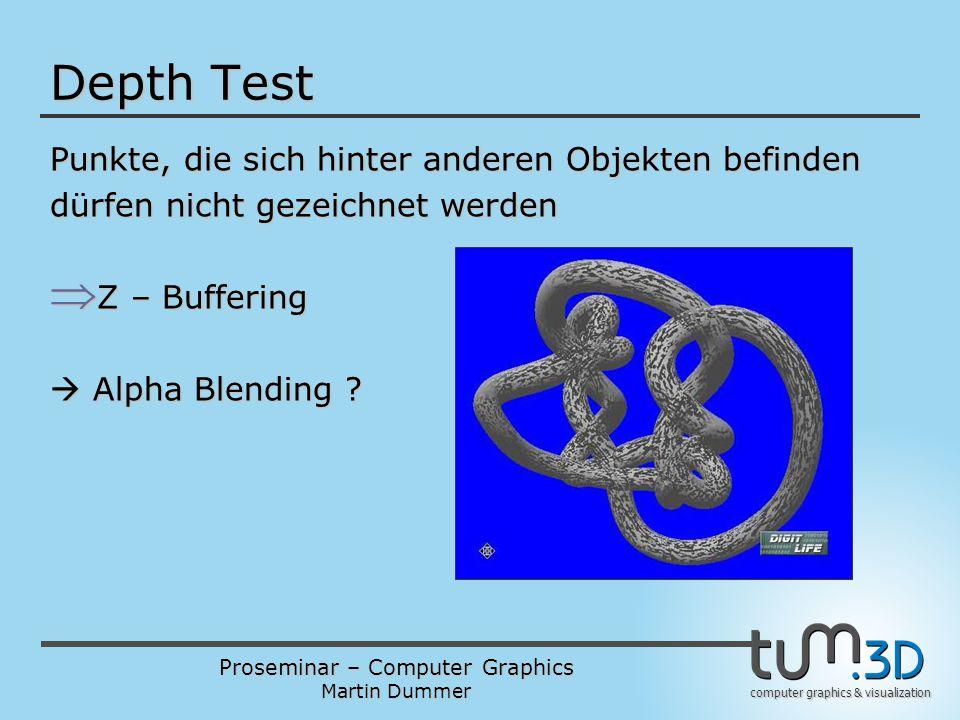 Proseminar – Computer Graphics Martin Dummer computer graphics & visualization Depth Test Punkte, die sich hinter anderen Objekten befinden dürfen nic