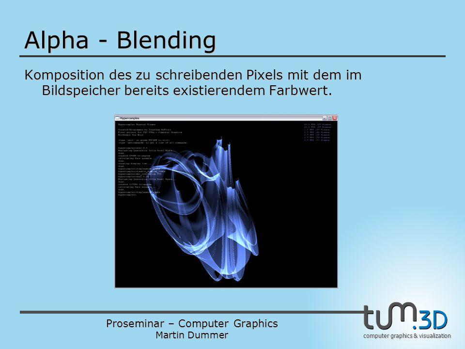 Proseminar – Computer Graphics Martin Dummer computer graphics & visualization Alpha - Blending Komposition des zu schreibenden Pixels mit dem im Bild