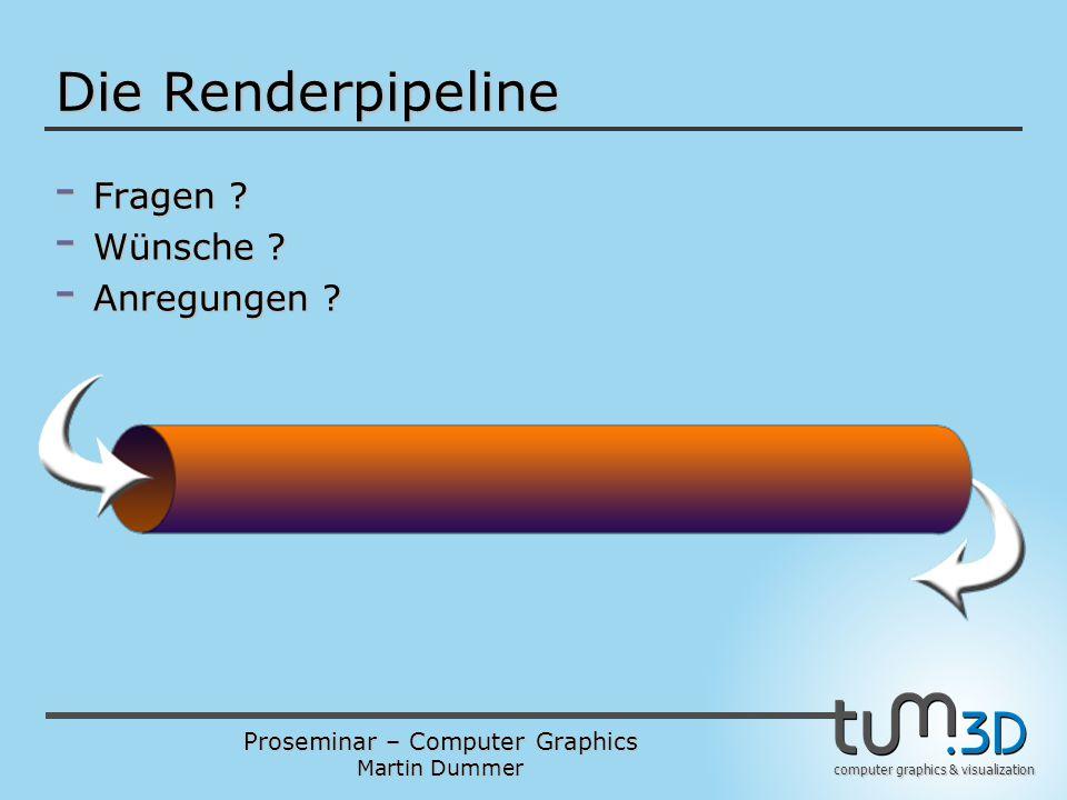 Proseminar – Computer Graphics Martin Dummer computer graphics & visualization Die Renderpipeline - Fragen ? - Wünsche ? - Anregungen ?